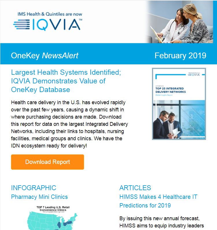 IQVIA's Top IDNs Research | Physician Opt-in Email Guide | Mini Clinics Infographic