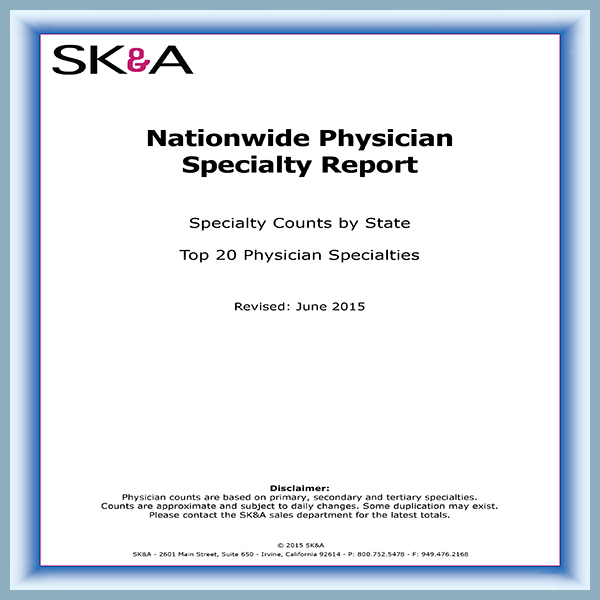 Physician Counts by Specialty